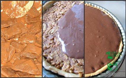 Ganache de ciocolata Tarta cu caramel, migdale si ganache de ciocolata